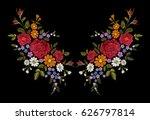 embroidery flower rose poppy... | Shutterstock .eps vector #626797814