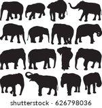asian elephant silhouette...   Shutterstock .eps vector #626798036