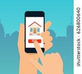 hand holding mobile smart phone ...   Shutterstock .eps vector #626800640