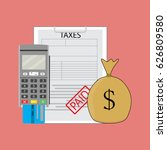 tax paid graphic  sack money... | Shutterstock .eps vector #626809580