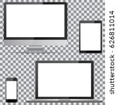 set of blank screens. computer... | Shutterstock .eps vector #626811014