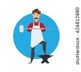 cute muscular blacksmith... | Shutterstock .eps vector #626812880