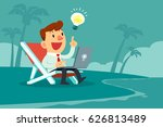 happy businessman with idea... | Shutterstock .eps vector #626813489