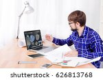 cad engineer's workplace with... | Shutterstock . vector #626813768