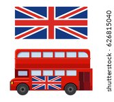 double decker bus with flag of... | Shutterstock .eps vector #626815040