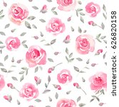Stock photo romantic pink floral seamless pattern watercolor fragile roses on a white background fresh 626820158