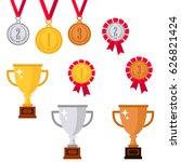 gold medal. silver medal.... | Shutterstock .eps vector #626821424