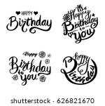 happy birthday set. beautiful... | Shutterstock .eps vector #626821670