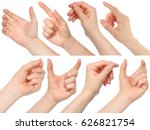 Collage Of Woman Hands On Whit...