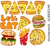 typography text word for pizza  ... | Shutterstock .eps vector #626830148
