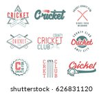 set of retro cricket sports... | Shutterstock .eps vector #626831120