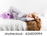 cute little girl in pajamas... | Shutterstock . vector #626833094