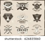 set of retro cricket sports... | Shutterstock .eps vector #626835860