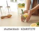 young woman with lemonade in... | Shutterstock . vector #626837270