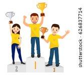 awards ceremony. three people... | Shutterstock .eps vector #626837714