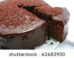 Chocolate Mud Cake Isolated On...