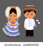 panamanians in national dress... | Shutterstock .eps vector #626844350