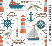 nautical theme seamless ... | Shutterstock .eps vector #626845598