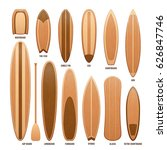 wooden surfboards isolated on... | Shutterstock .eps vector #626847746