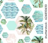 abstract summer hexagon shapes... | Shutterstock . vector #626850650