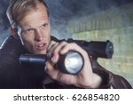 investigating officer in action ... | Shutterstock . vector #626854820