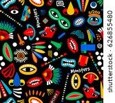 tribal monster seamless pattern.... | Shutterstock .eps vector #626855480