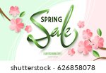spring sale background with... | Shutterstock .eps vector #626858078