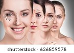 woman's faces with lifting... | Shutterstock . vector #626859578