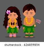hawaiians in national dress... | Shutterstock .eps vector #626859854