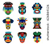 zulu or aztec mask vector icons.... | Shutterstock .eps vector #626864126