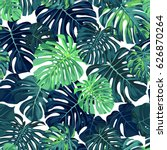 green pattern with monstera... | Shutterstock . vector #626870264