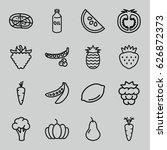 vegetarian icons set. set of 16 ... | Shutterstock .eps vector #626872373
