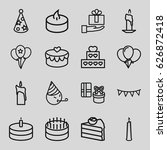 birthday icons set. set of 16... | Shutterstock .eps vector #626872418