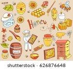 vector honey element doodle set ... | Shutterstock .eps vector #626876648