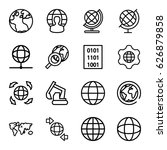 earth icons set. set of 16... | Shutterstock .eps vector #626879858