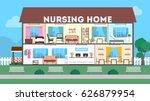 outside nursing home. green... | Shutterstock .eps vector #626879954
