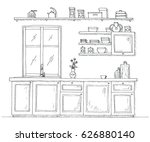 sketch kitchen with a window.... | Shutterstock .eps vector #626880140