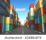 cargo containers in shipping... | Shutterstock . vector #626881874