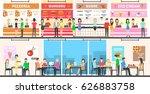 food court interior set. people ...   Shutterstock .eps vector #626883758