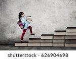 picture of a little school girl ... | Shutterstock . vector #626904698