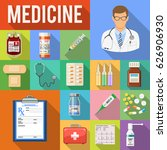 set of medical and healthcare... | Shutterstock .eps vector #626906930