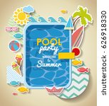 summer pool party invitation .... | Shutterstock .eps vector #626918330