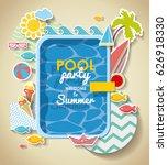 summer pool party invitation .... | Shutterstock .eps vector #626918330