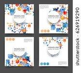 set of square color brochures ...   Shutterstock .eps vector #626919290