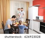 male gay couple with children... | Shutterstock . vector #626923028