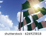 nigeria flags waving in the... | Shutterstock . vector #626925818