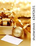 golden christmas background - stock photo