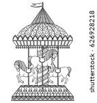 vintage carousel. hand drawn... | Shutterstock .eps vector #626928218