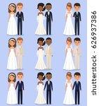 cartoon wedding characters.... | Shutterstock .eps vector #626937386