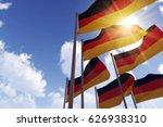 german flags waving in the wind ... | Shutterstock . vector #626938310